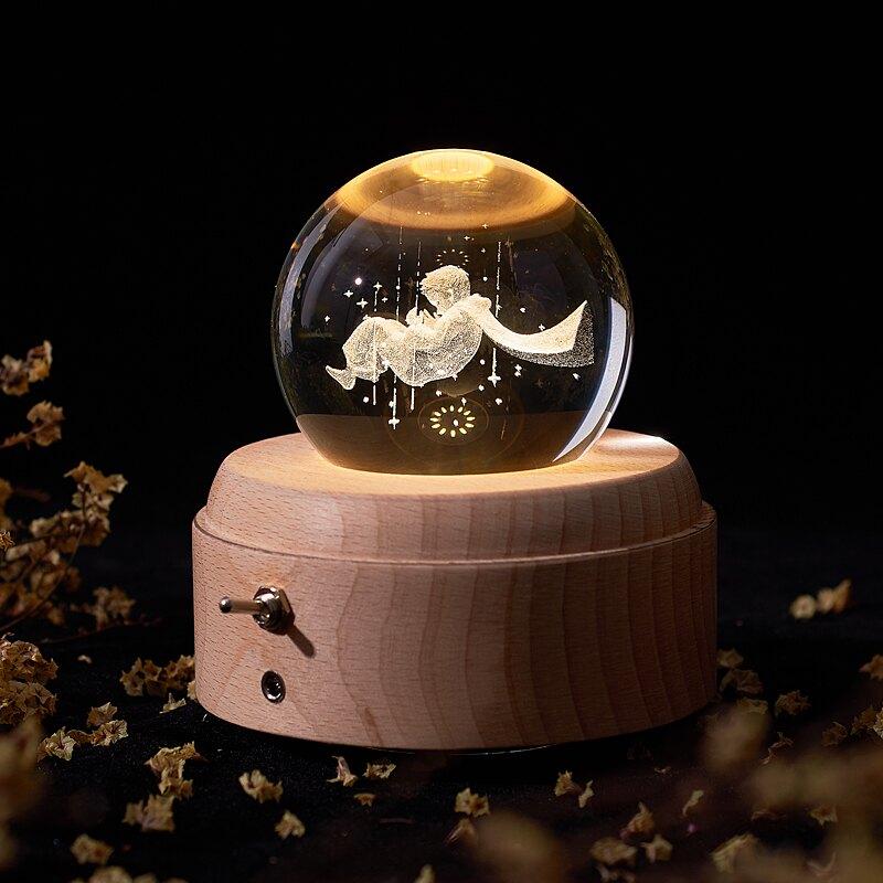 小王子水晶球音樂盒浪漫旋轉投影燈ins網紅生日禮物臥室床頭臺燈