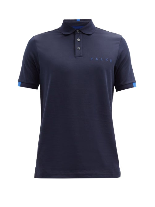 Falke Ess - Logo-print Cotton-blend Piqué Polo Shirt - Mens - Navy