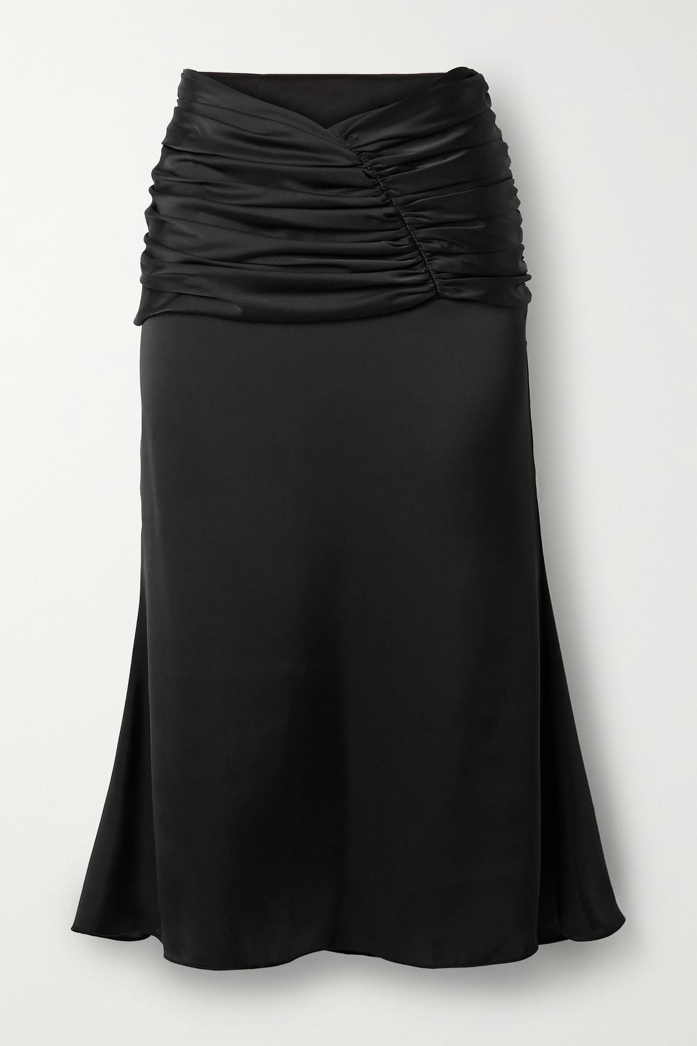 ORSEUND IRIS - Romantique Ruched Satin Skirt - Black - x small