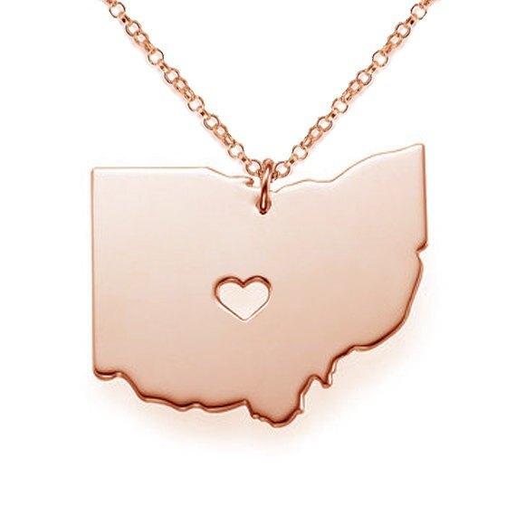 【現貨】State of Ohio 俄亥俄州 美國地圖項鍊 2018新款 地圖項鍊 鍍K金 玫瑰金 吊墜 歐美新款 項鍊