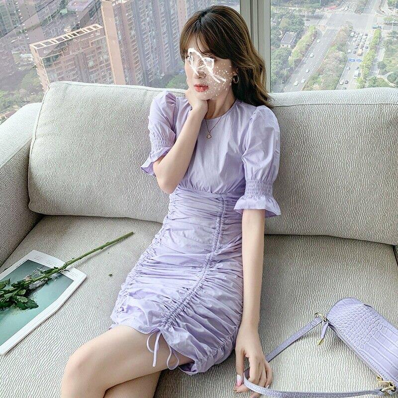 韓版時尚個性褶皺連衣裙2021夏季新款純色高腰顯瘦短裙女