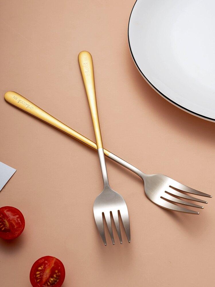 onlycook304不銹鋼餐叉家用西餐餐叉牛排叉主餐叉吃面叉子 沙拉叉