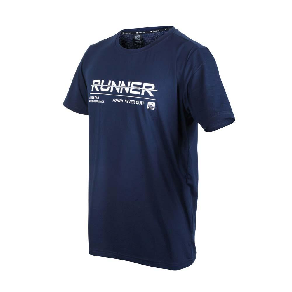 FIRESTAR 男彈性印花圓領短袖T恤-運動 慢跑 路跑 上衣 吸濕排汗 反光 丈青白