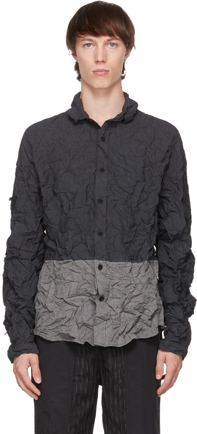 Blackmerle 灰色褶皱羊毛衬衫