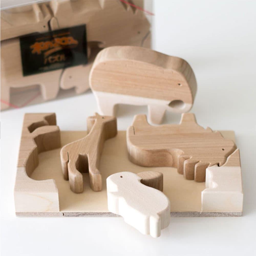 草の実工房もく- 北海道Zoo系列原木積木 (大象組合)
