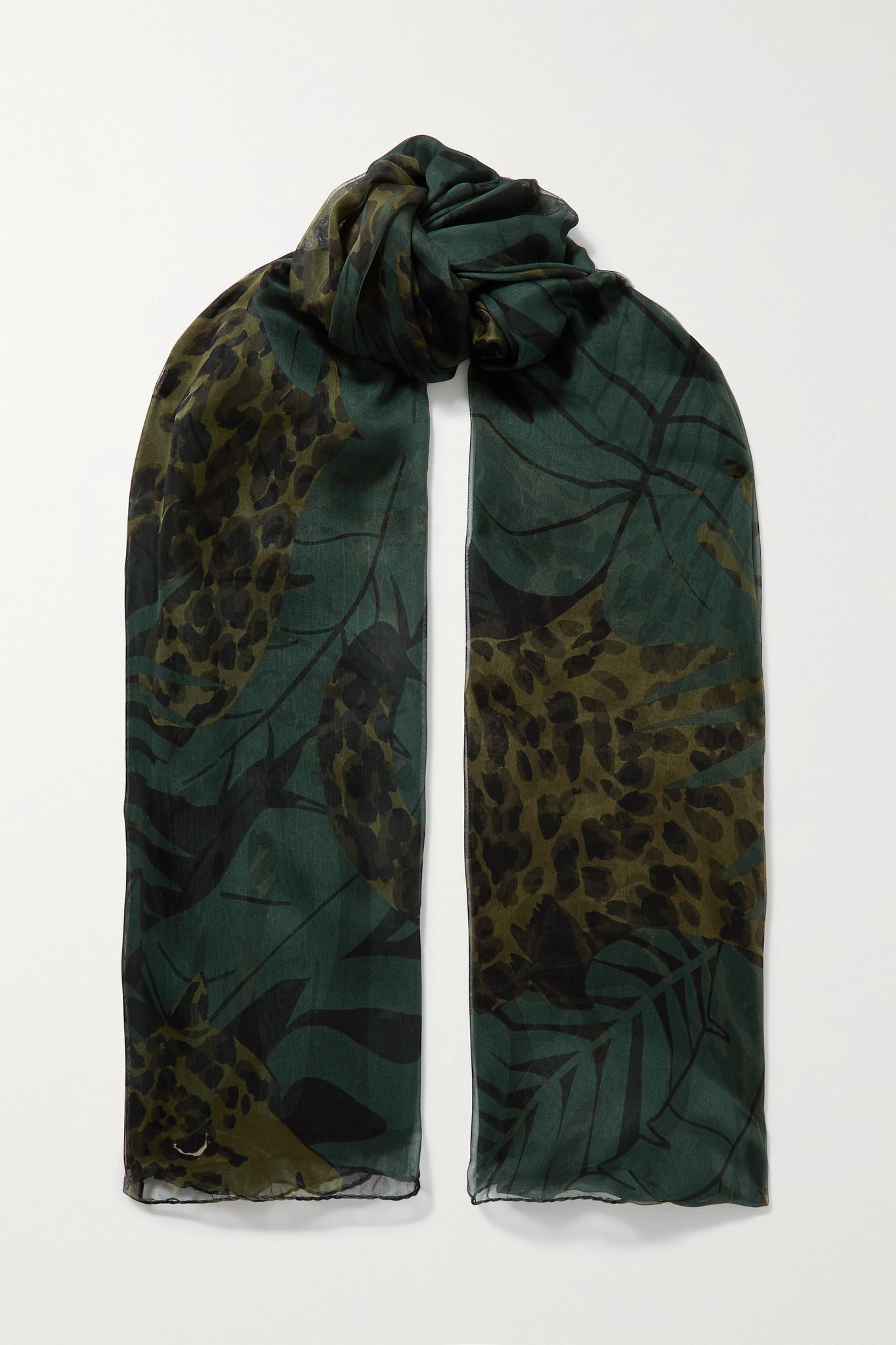 SAINT LAURENT - Printed Silk-chiffon Scarf - Green - one size