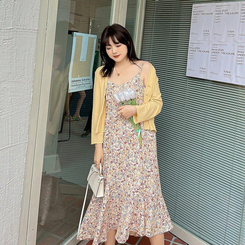 2021春季新款韓版中大尺碼女裝200斤胖mm加肥開衫吊帶兩件套