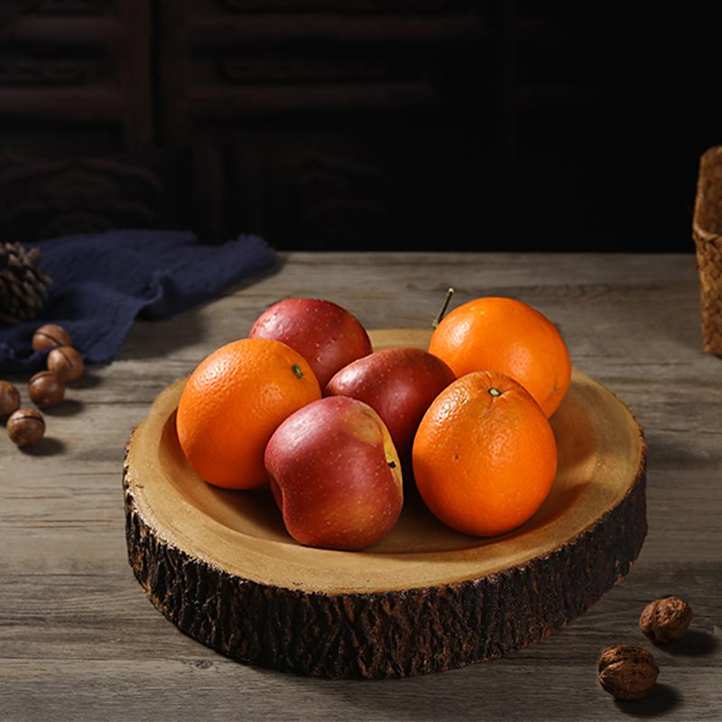 木質干果盤供果盤中式現代客廳創意個性家用復古中國風實木水果盤