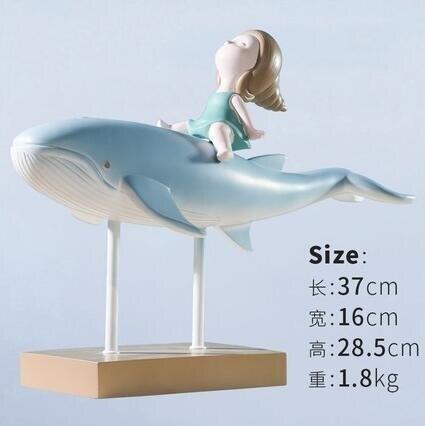 卡通現代北歐兒童房裝飾品卡通女孩鯨魚擺件書桌書柜客廳