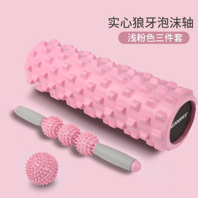 健身滾輪泡沫軸肌肉放鬆器實心狼牙棒健身按摩滾軸滾輪瑯琊瑜伽柱器材T