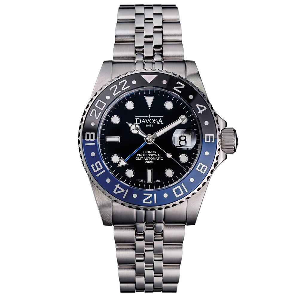 DAVOSA Ternos TT GMT 雙色雙時區陶瓷圈200M潛水錶-藍黑/5珠鋼帶/42mm