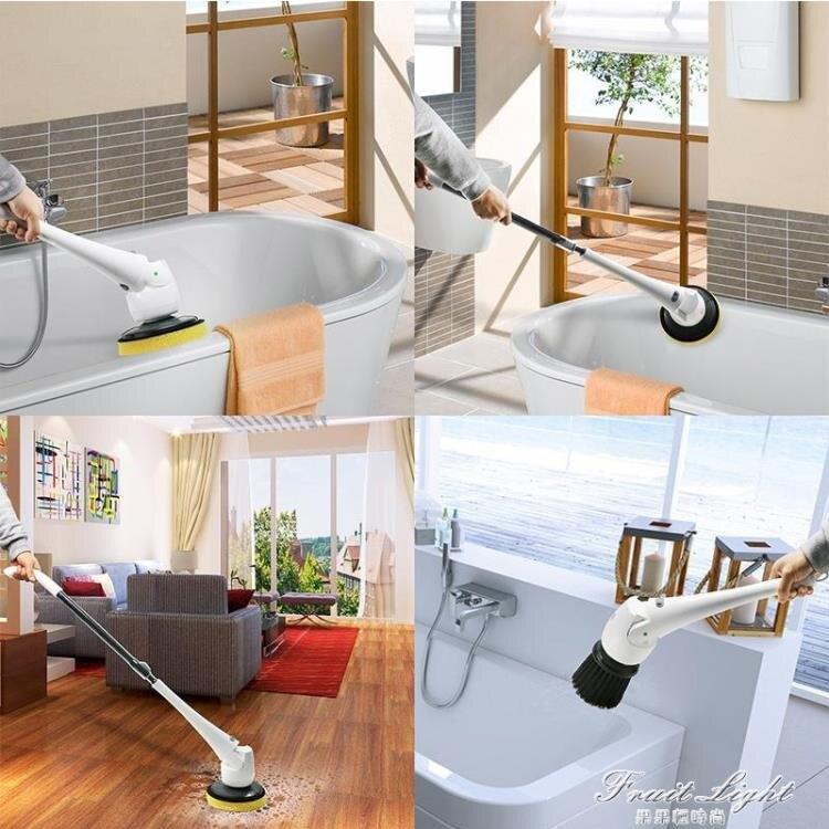 電動清潔刷子家用無線浴室衛生間廁所地板瓷磚多功能清洗機車神器 摩可美家