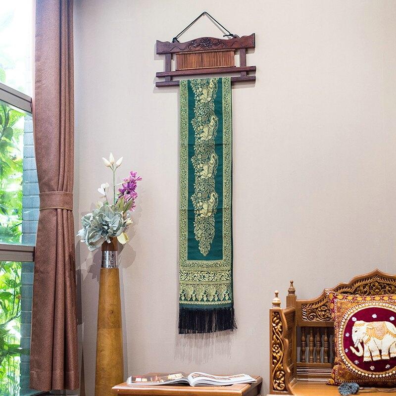 泰國進口泰絲稠大象掛毯泰式酒店會所背景墻壁毯裝飾掛件臥室掛件