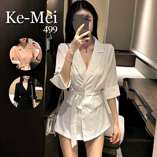 克妹Ke-Mei【AT67231】GirlSelect個性感雙排釦腰帶立領西裝外套