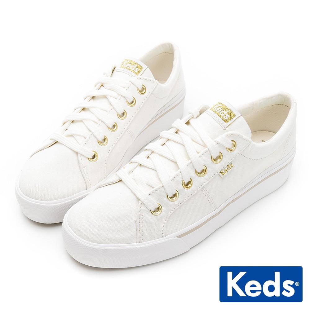 Keds JUMP KICK DUO 簡約有機棉厚底鞋-奶油白
