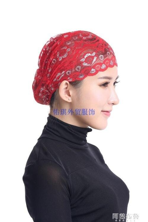 【百淘百樂】頭巾帽 夏季透氣民族小帽 薄款蕾絲打底帽 時尚頭巾包頭 熱銷~