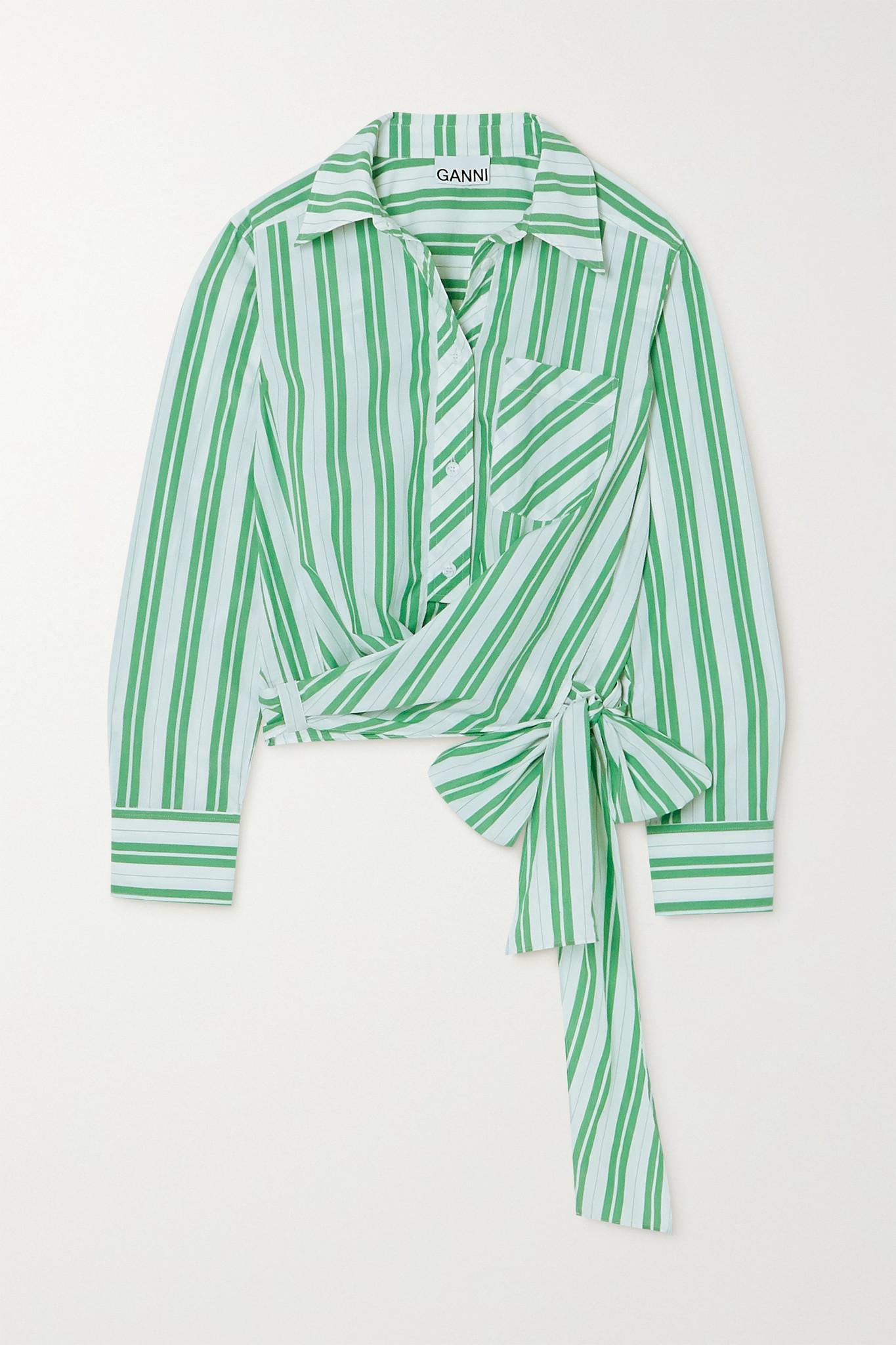 GANNI - Tie-detailed Striped Organic Cotton-poplin Shirt - Green - DK38