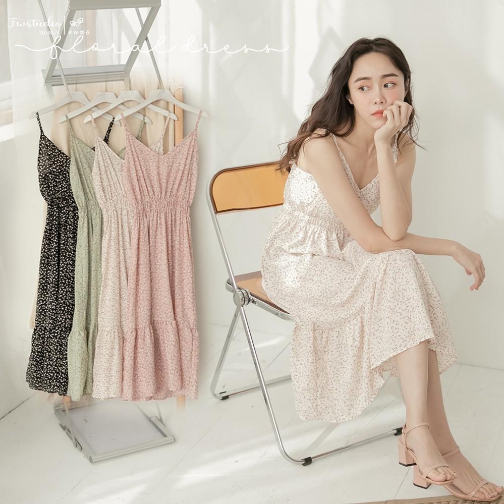 洋裝 吊帶裙 顯瘦 魚尾 無袖 雪紡紗 碎花 甜美 氣質 女裝 FW美衣 D7205