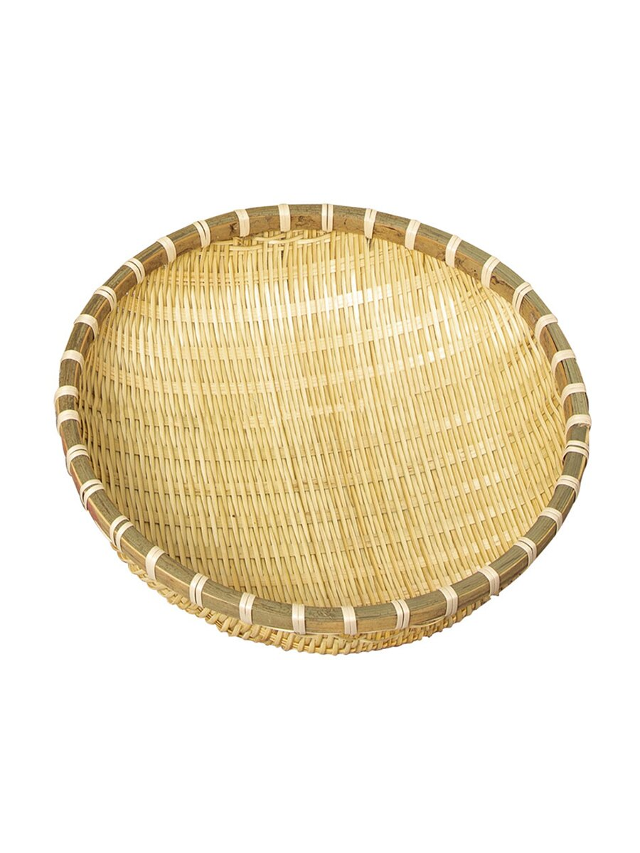 竹編簸箕圓形筲箕竹篩子農家竹制品收納筐家用有孔水果籃洗菜圓筐