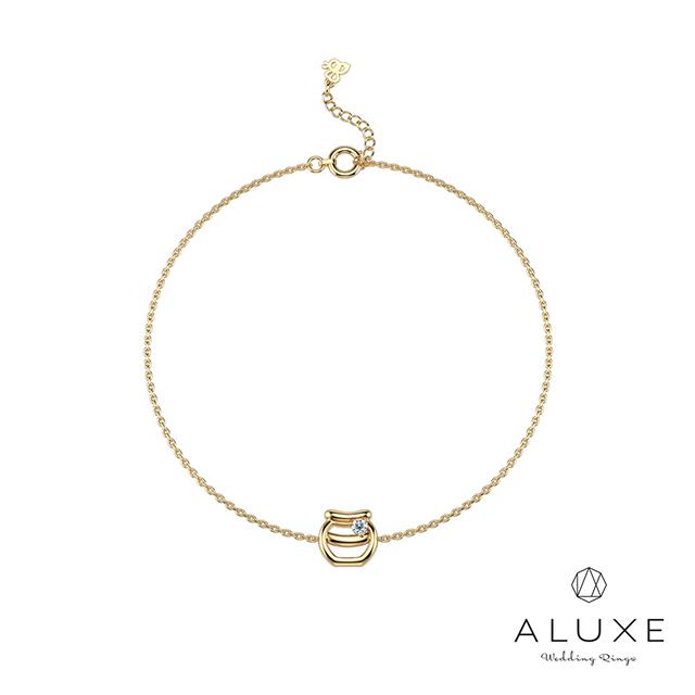 ALUXE亞立詩 小熊維尼 Honey系列10K鑽石手鍊