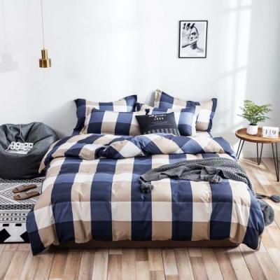A-ONE 雪紡棉  雙人加大床包/枕套三件組-紳士格子
