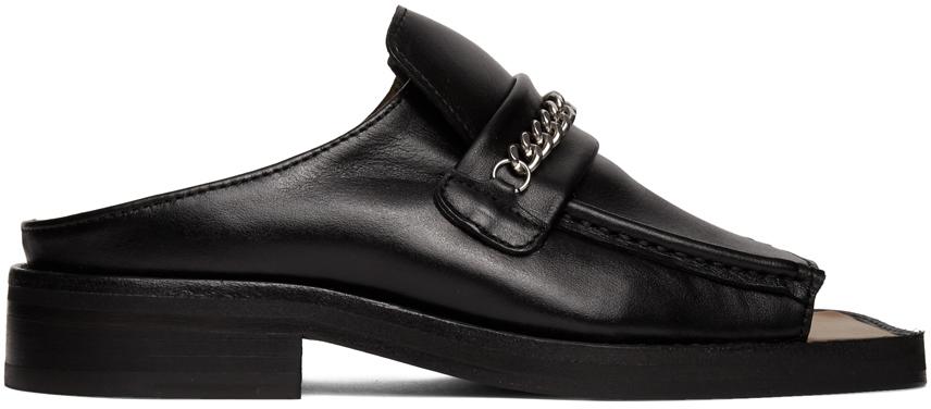Martine Rose 黑色露趾乐福鞋