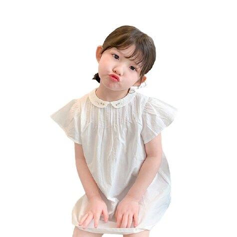 刺繡花花小圓翻領荷葉袖娃娃衫 長版上衣 襯衫 女童 橘魔法 現貨 童裝 兒童【p0061224758775】