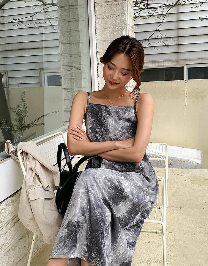 韓國空運 - Painting Square Long Dress 長洋裝