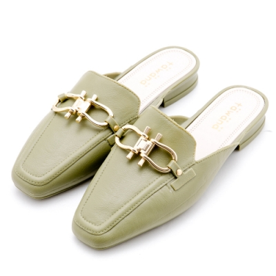 River&Moon防水鞋 造型金鎖扣方頭低跟穆勒鞋 綠