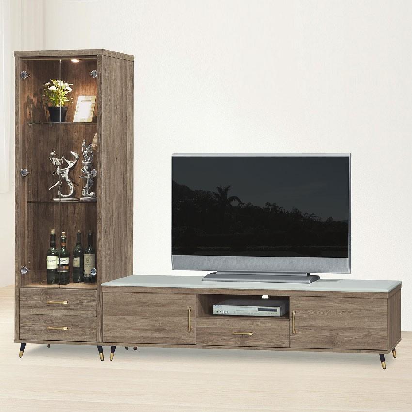 240cm石面l型電視櫃-e406-1客廳組合長櫃 展示收納櫃 北歐工業風 tv櫃 金滿屋