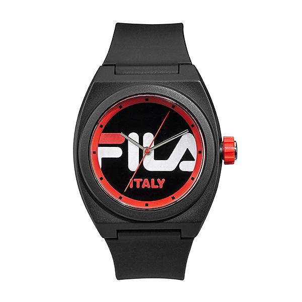 【FILA 斐樂】簡約LOGO造型手錶-個性黑/38-180-004/台灣總代理公司貨享兩年保固