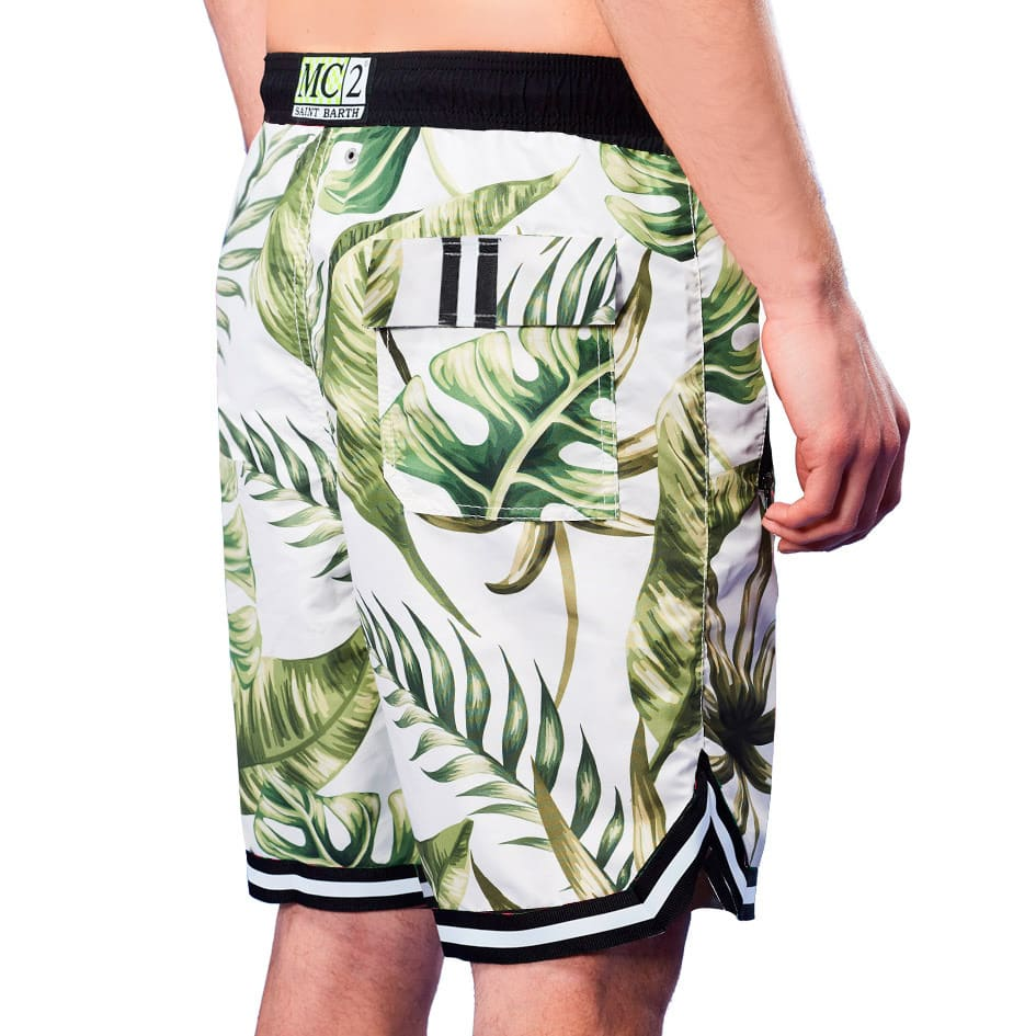Tropical Leaves Jumbo Print Long Swim Shorts With Tape Finish