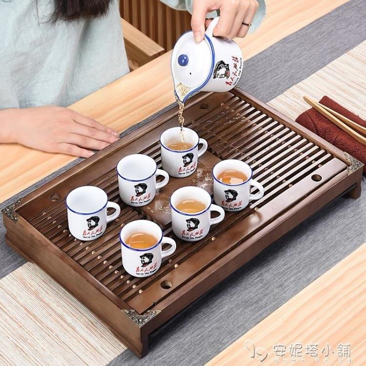 豪峰實木茶盤套裝家用功夫茶具茶台茶海排水簡約抽屜儲水單盤托盤