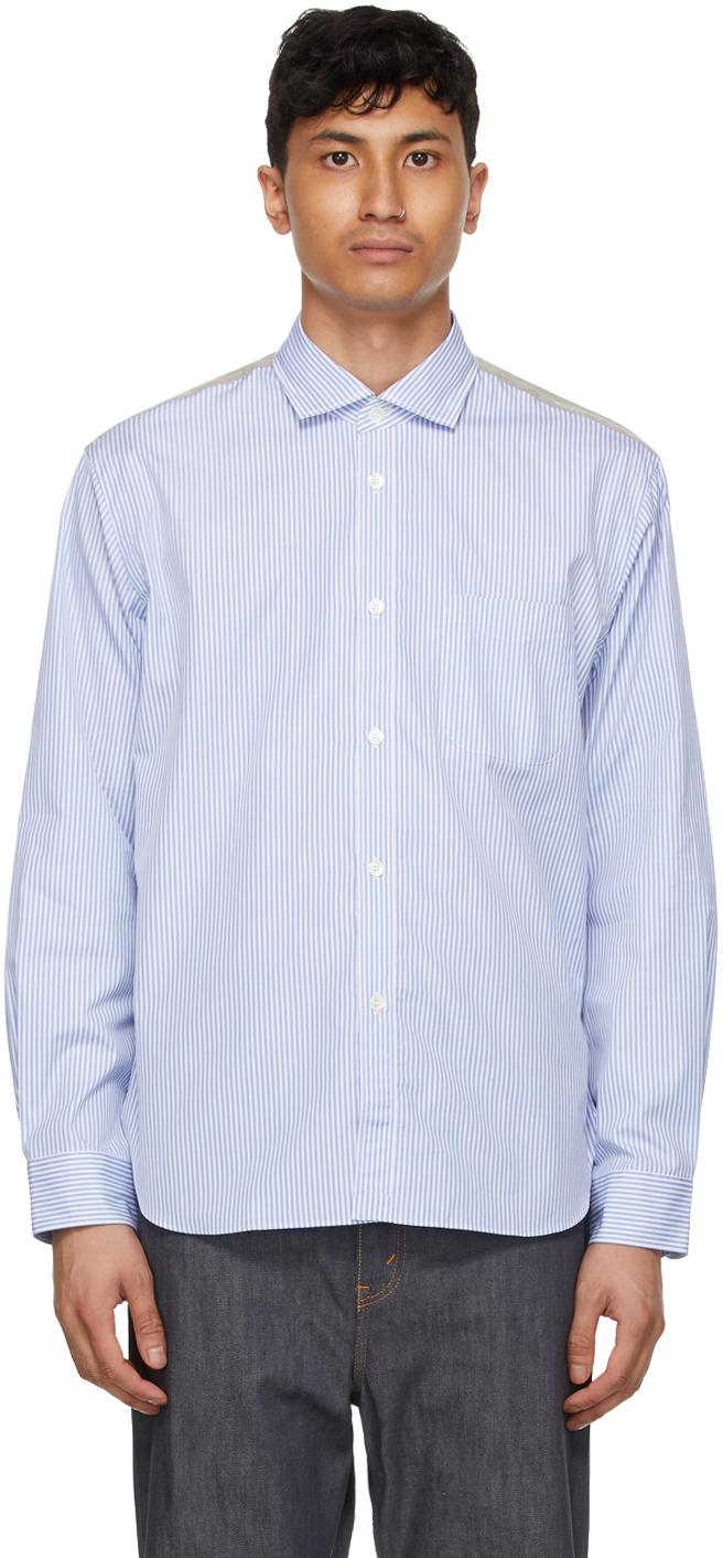 Junya Watanabe 蓝色 & 白色条纹格纹拼接衬衫