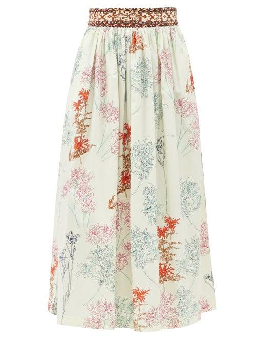 Le Sirenuse, Positano - New Jane Spring Flowers-print Cotton Midi Skirt - Womens - Green Print
