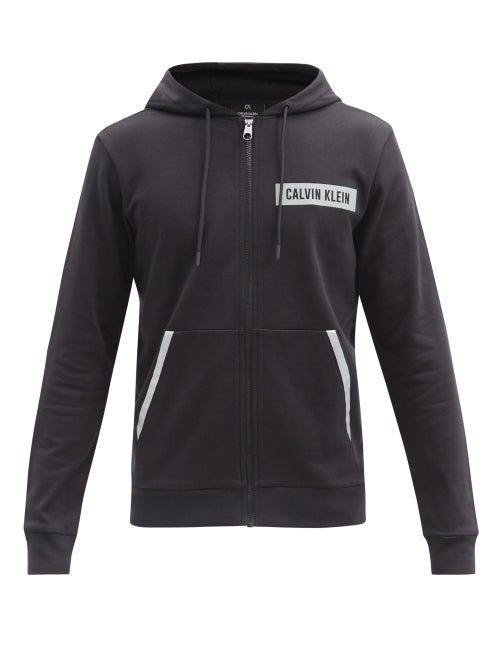 Calvin Klein Performance - Logo-print Zipped Cotton-jersey Hooded Sweatshirt - Mens - Black