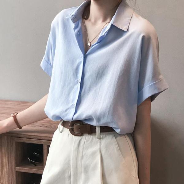 2021新款夏季設計感小眾襯衫女短袖天絲棉麻上衣復古港味半袖襯衣『潮流世家』