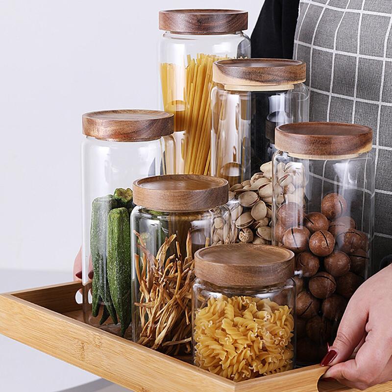 密封相思木玻璃儲物罐(400ml)儲物罐 收納罐 廚房收納 收納 密封罐 密封盒 防潮 玻璃收納罐