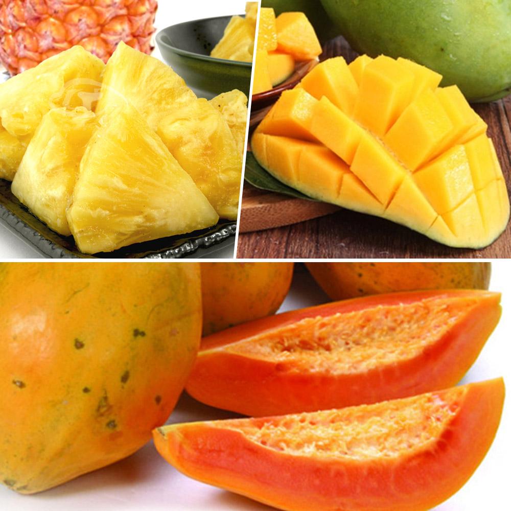 果之家 台灣特產水果箱(木瓜+金鑽鳳梨+土芒果)