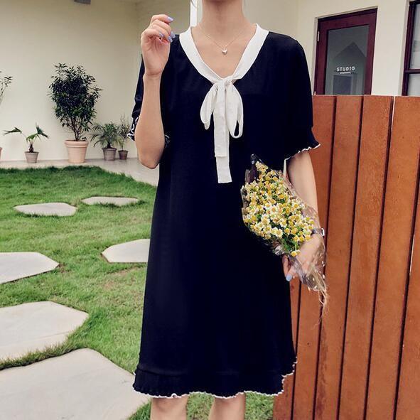 洋裝 連身裙 中大尺碼 M-4XL新款大碼中長款寬鬆顯瘦休閒短袖T卹裙4F051-927.胖胖美依