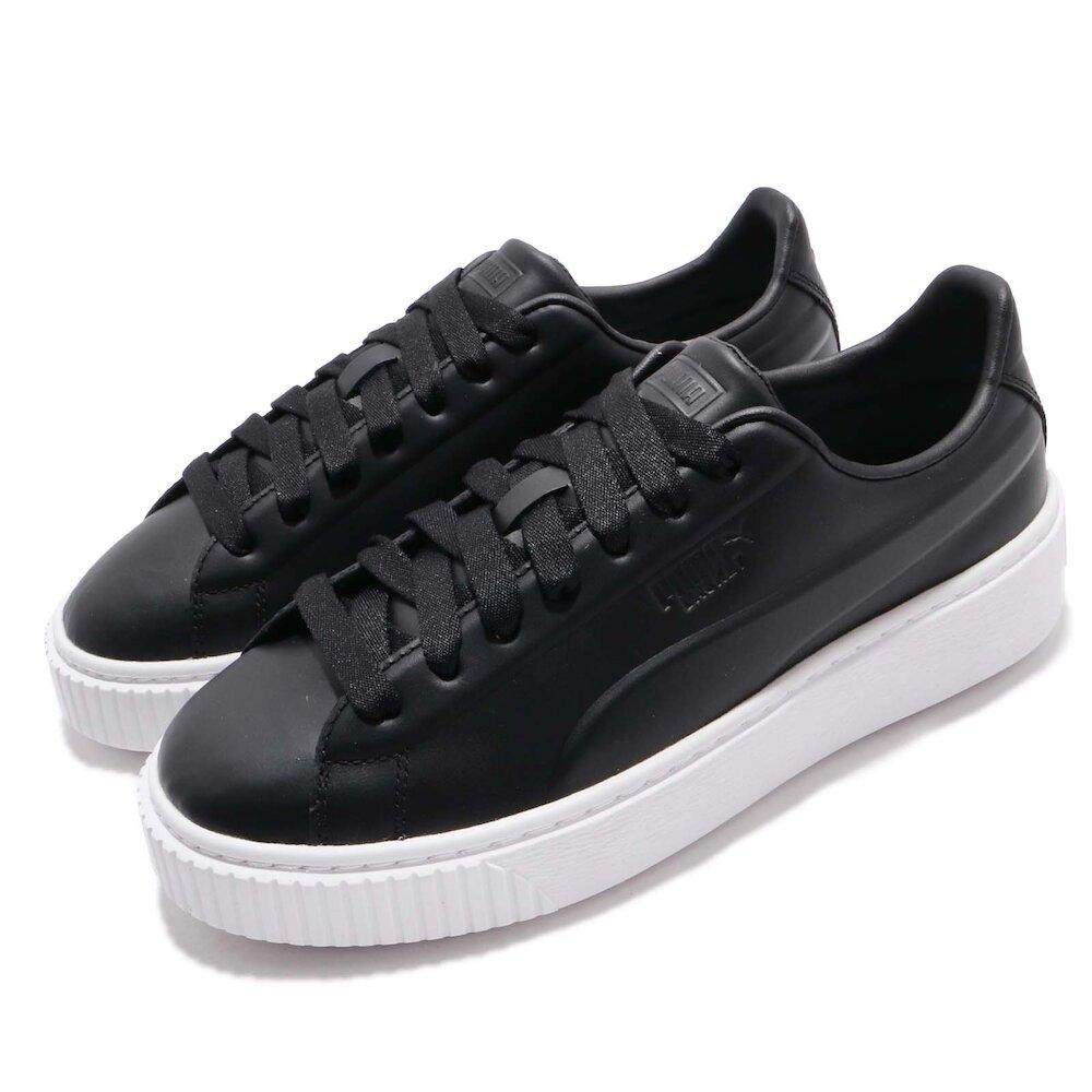 PUMA 休閒鞋 Platform Seamless 女鞋 厚底 皮革鞋面 穿搭推薦 基本款 黑 白 [36916203]
