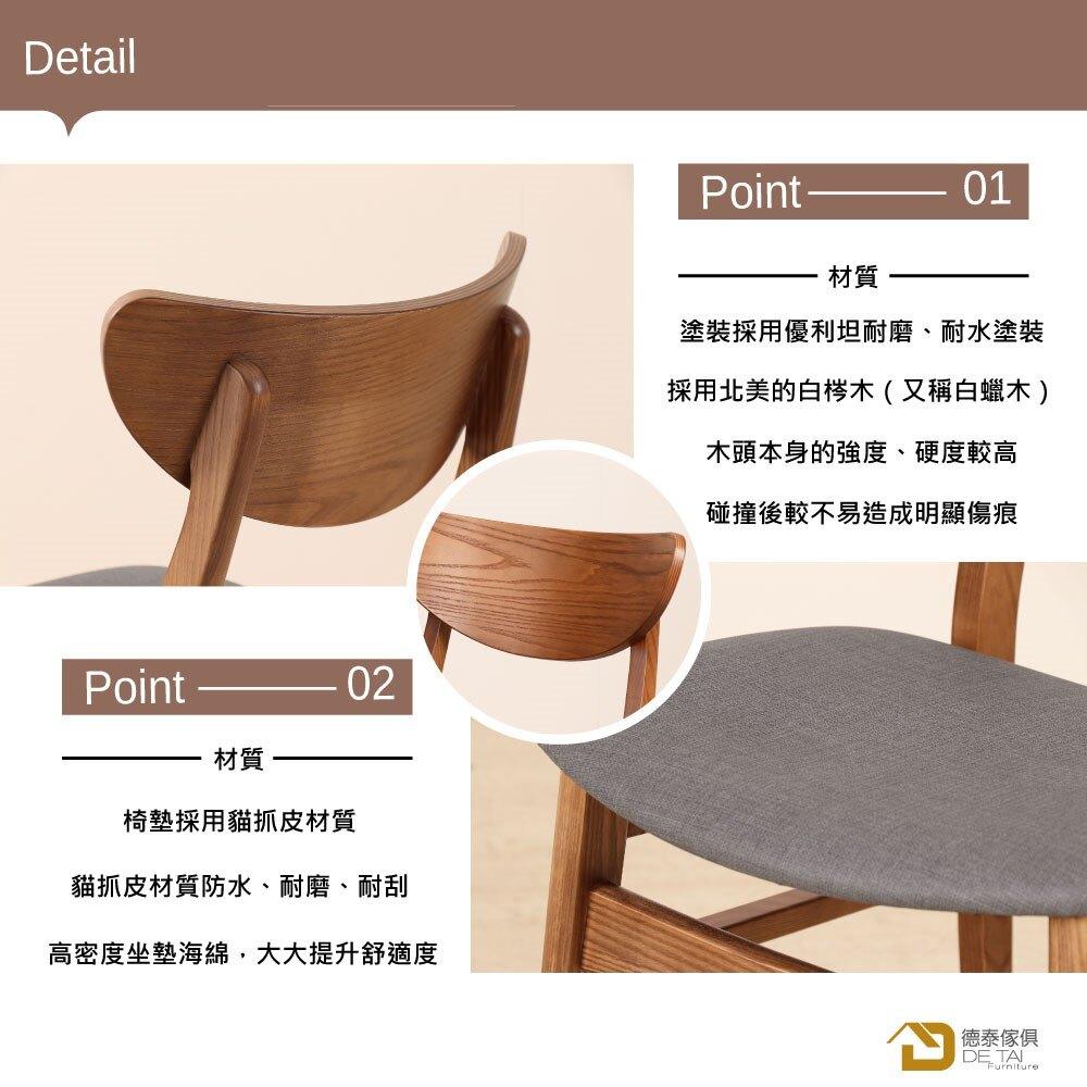 D&T 德泰傢俱 Miso北美白梣木全實木餐椅(椅身胡桃色+深藍色貓抓皮)B001-C203