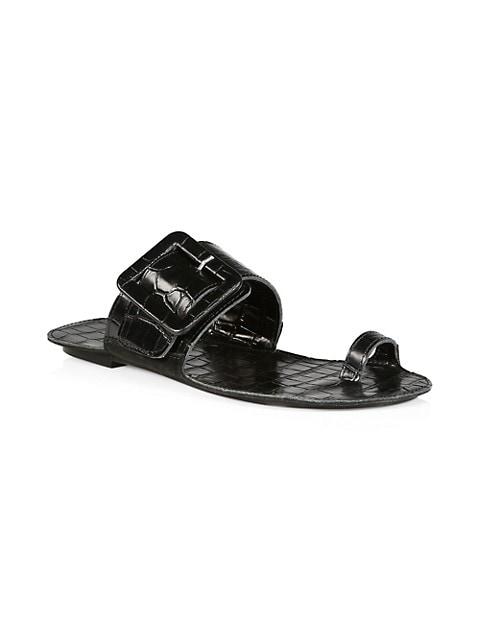 Loop Ring Obsidian Croc-Embossed Leather Sandals