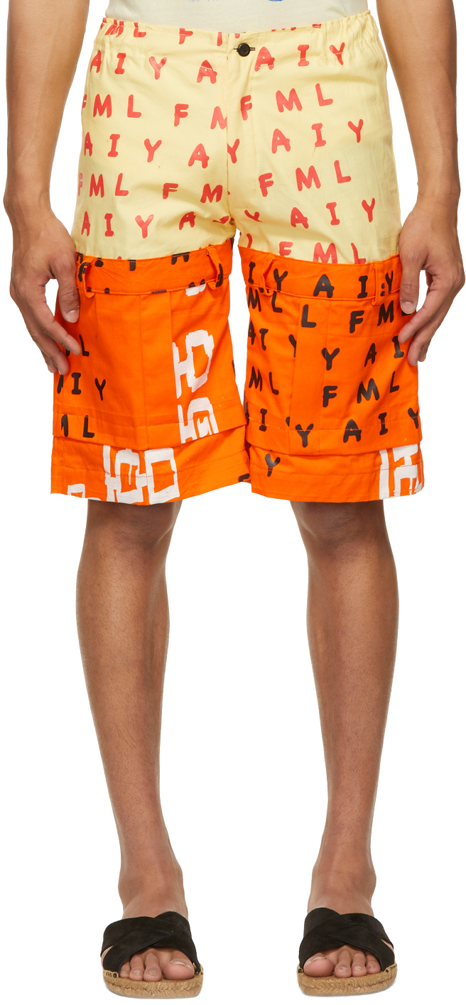 Bloke 橙色 Silkscreen 印花短裤