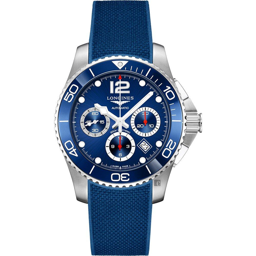 LONGINES 浪琴 深海征服者浪鬼陶瓷計時潛水機械錶-藍/43mm L38834969