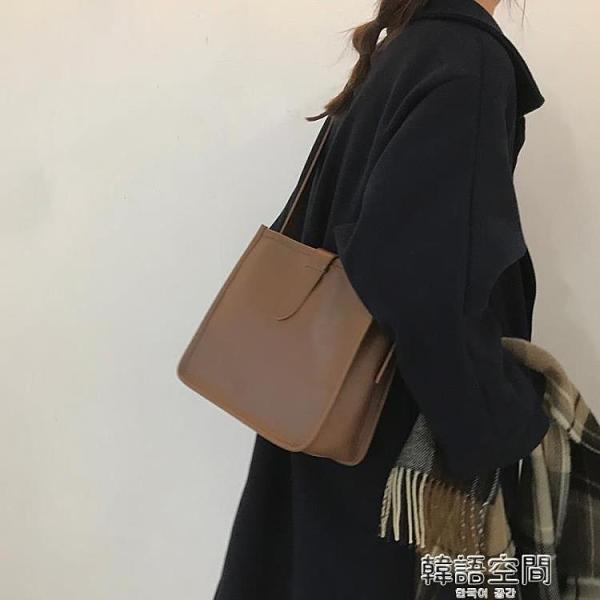 復古大包包女2021新款潮網紅水桶包百搭ins大容量斜背包單肩包側背包