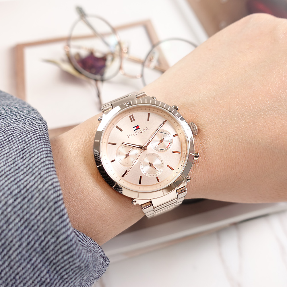 TOMMY HILFIGER / 1782347 / 三眼三針 優雅復古 礦石強化玻璃 星期日期 不鏽鋼手錶 鍍玫瑰金 38mm