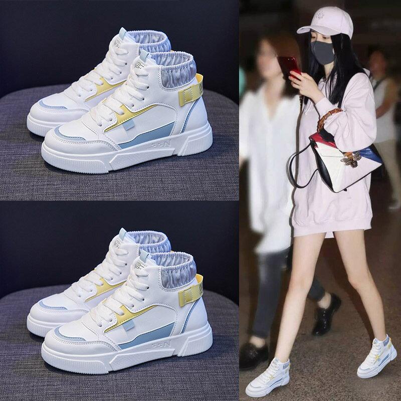 2021春季新款韓版高幫小白鞋女ins學生百搭街拍休閒跑步板鞋N105