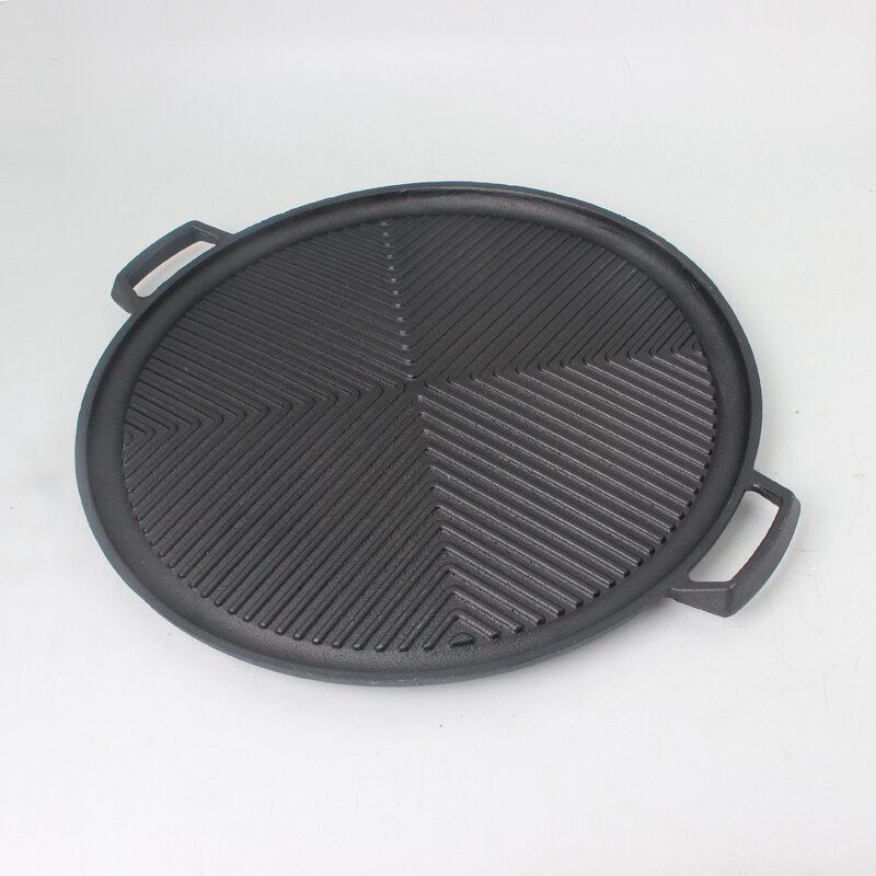 鐵板盤 加厚鑄鐵雙耳條紋烤肉盤烤盤鐵板盤牛排煎鍋家用牛扒燒烤盤商用