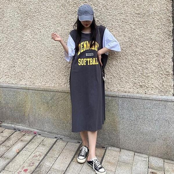 裙子T恤裙圓領拼接洋裝中大尺碼XL-5XL衛衣長款連身裙4F087.710依品國際